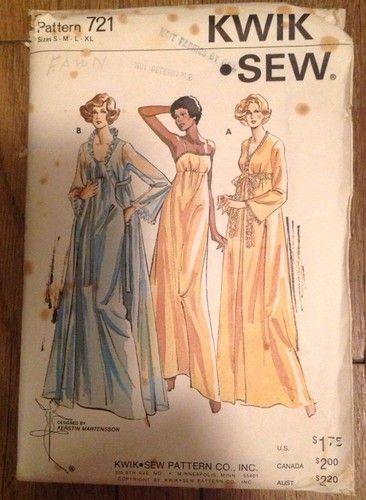Vintage Kwik Sew Nightgown Peignoir Lingerie Pattern S-M-L-XL ...