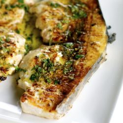 Grilled Sword Fish Steak with Salmoriglio (Sicilian Lemon Sauce), a part of an Italian Grilled Seafood & Vegetable Platter.  Recipes.