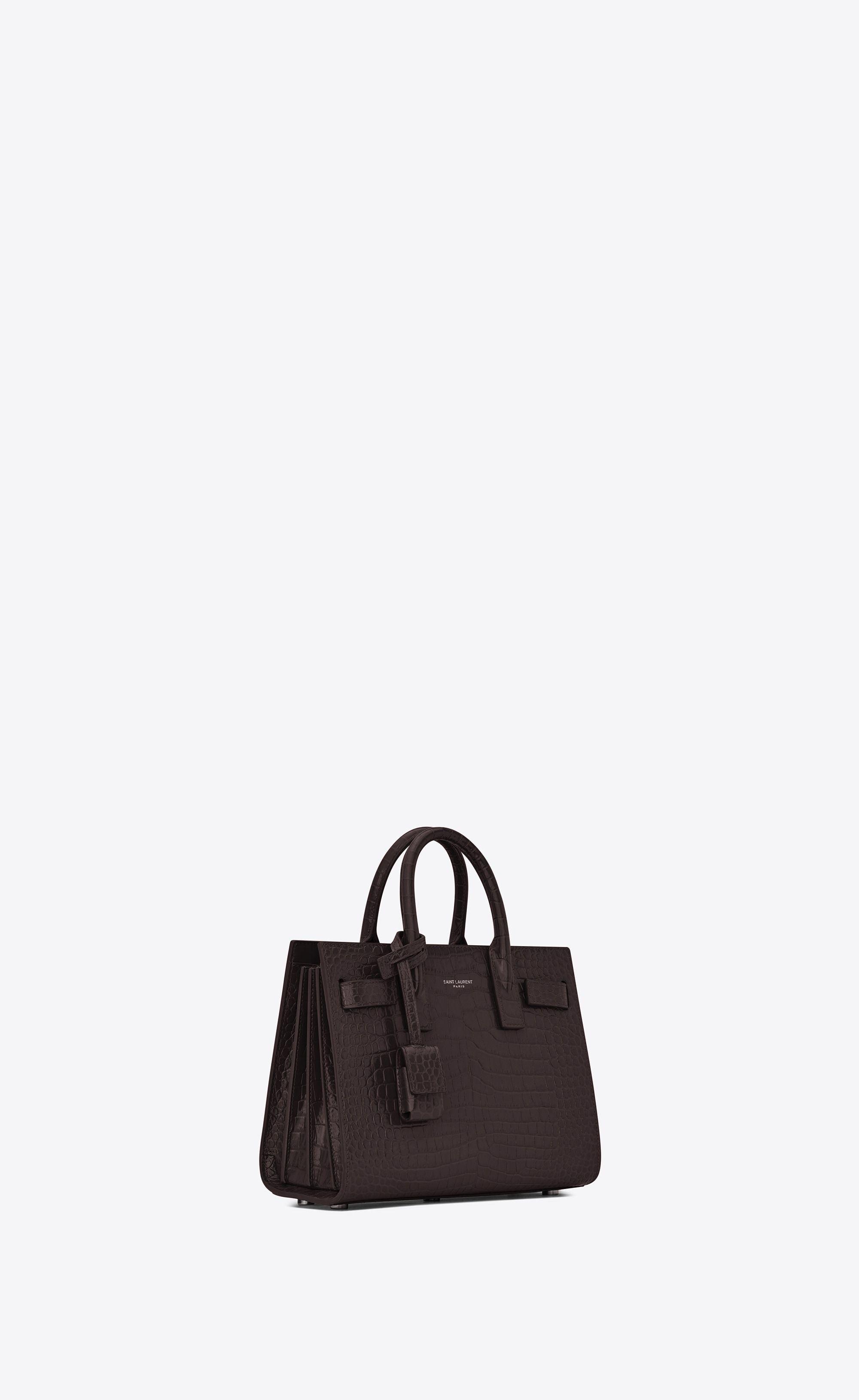 e04b76bfb0d80 Saint Laurent - Classic Nano Sac de Jour bag in black tulip crocodile  embossed shiny leather ( 1