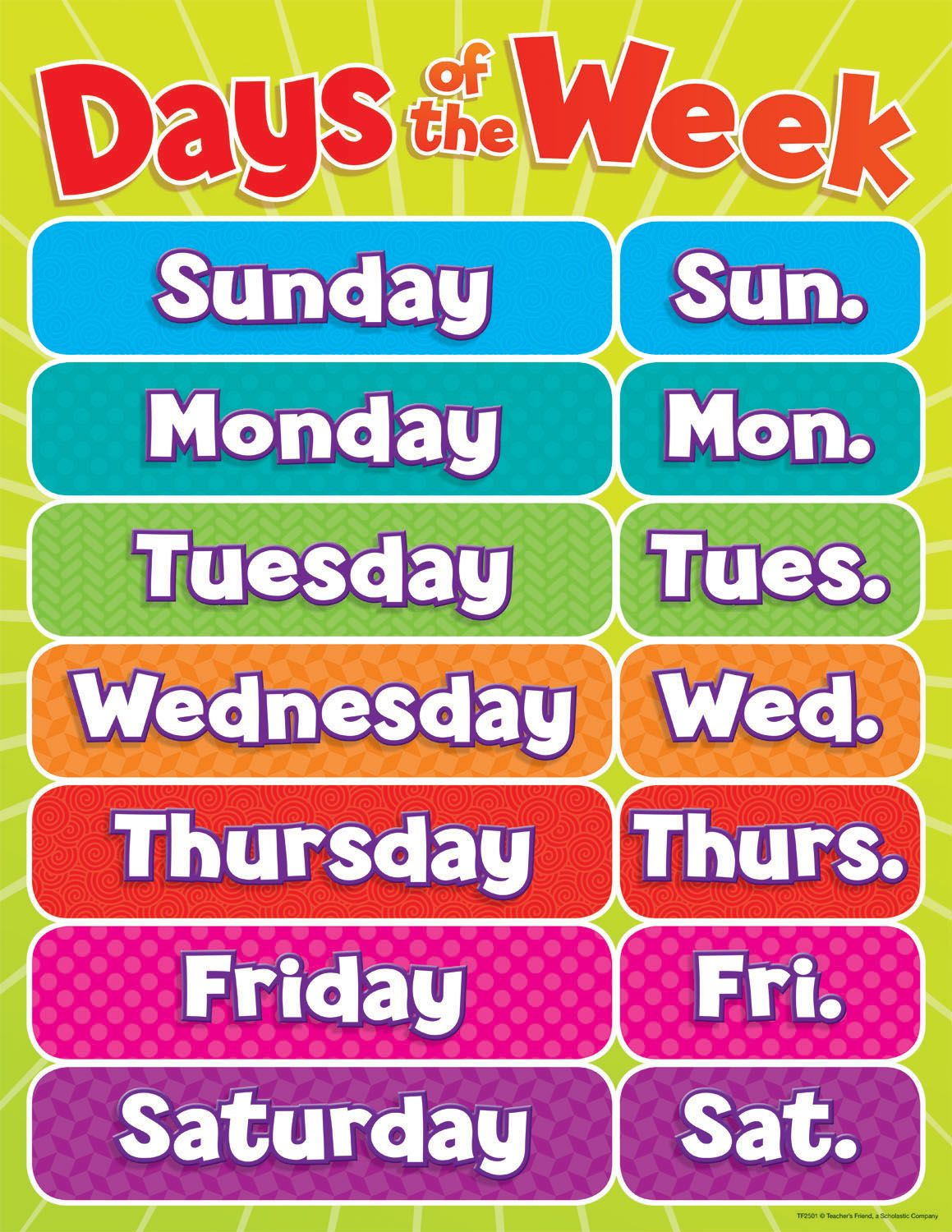 Days Of The Week Chart With Images English Vocabulary Learn