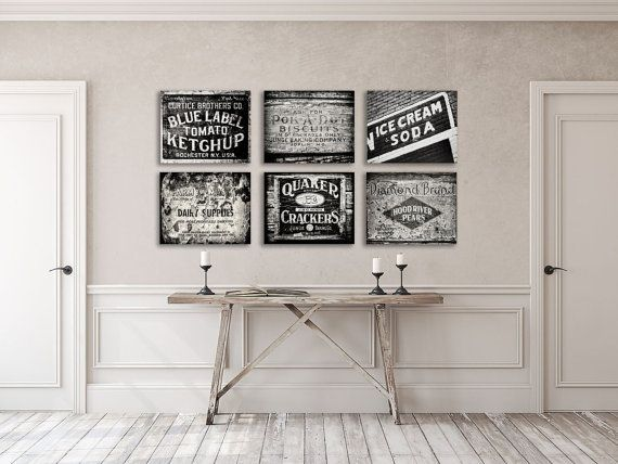 Black And White Rustic Kitchen Wall Art Decor Set Of 6 Etsy Rustic Kitchen Wall Art Rustic Kitchen Wall Decor Kitchen Decor Collections