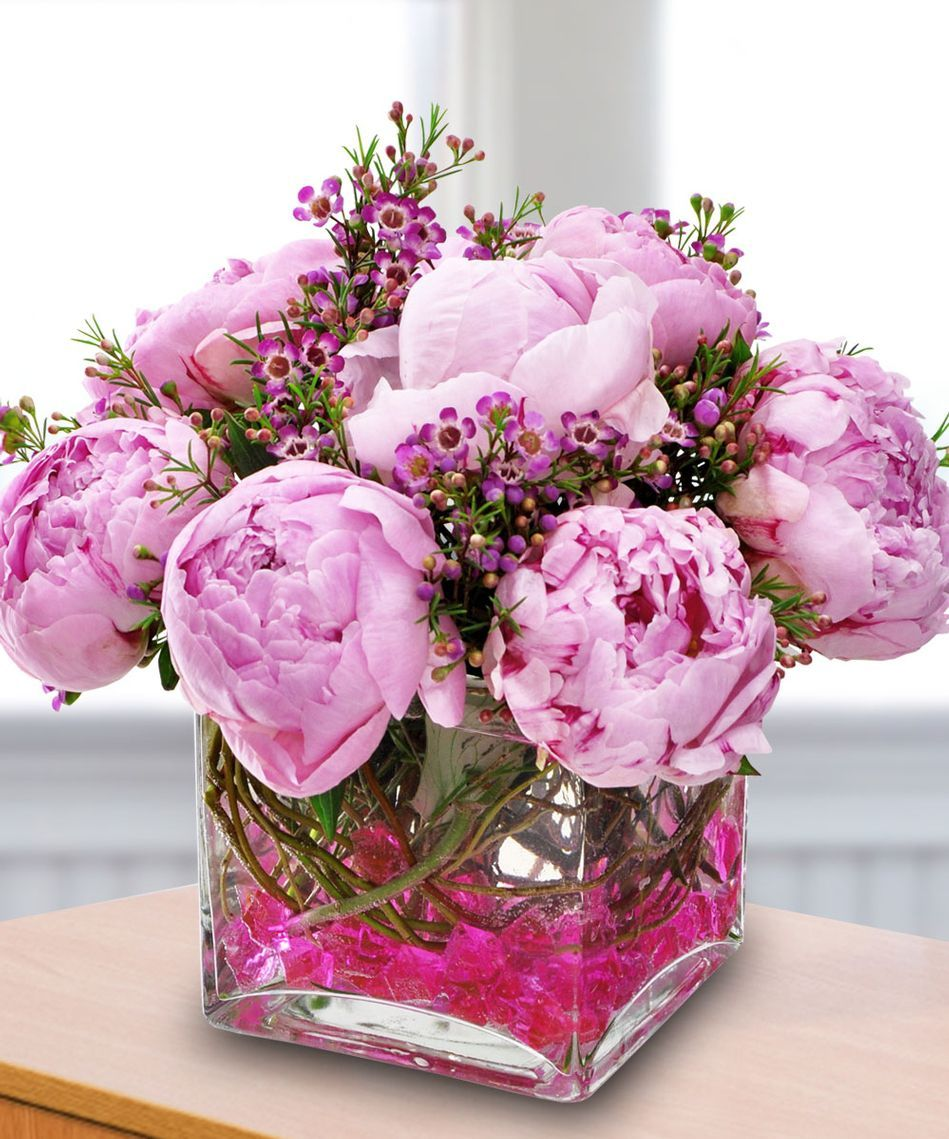 Pink Peonies And Purple Accent Flowers In A Compact Arrangement By Beneva Flowers In Flower Delivery Peonies And Hydrangeas Same Day Flower Delivery