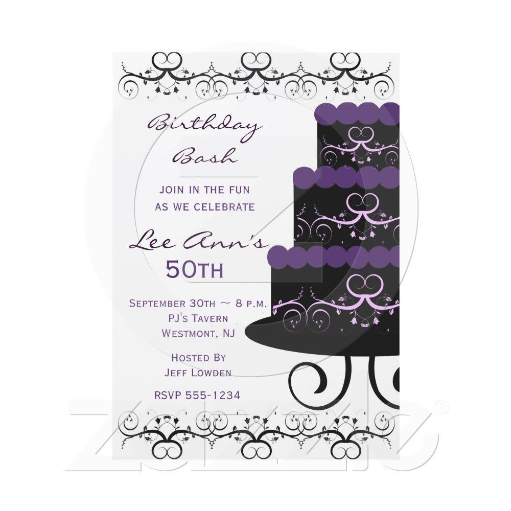 50th Birthday Party Invitations In Purple Swirl From Zazzle