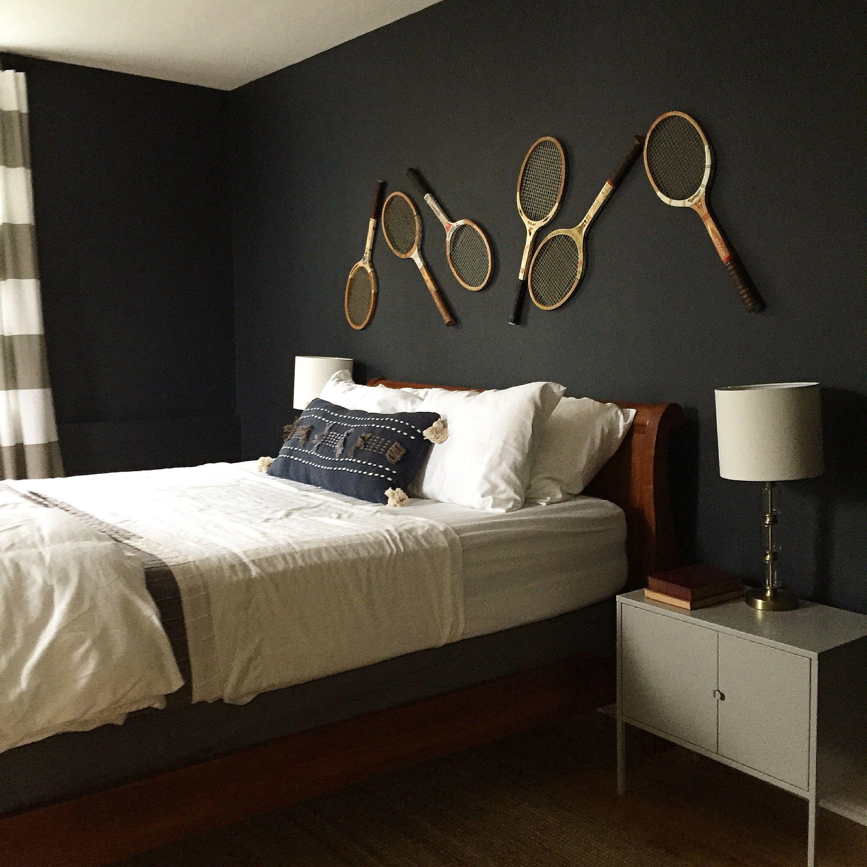 . Hale Navy walls  vintage tennis rackets  bedroom decor   Alison Kist