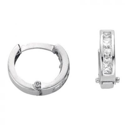 9ct White Gold Cubic Zirconia Sleeper Earrings 10mm Dia