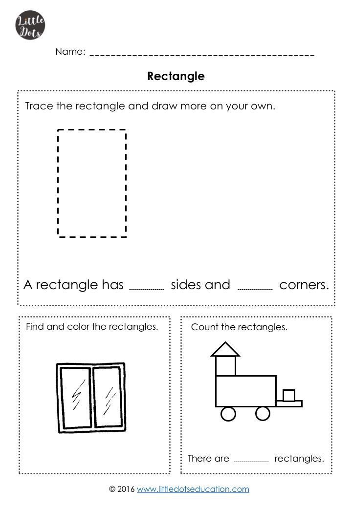 Free rectangle shape worksheet for kindergarten. Please note that ...