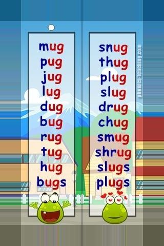 ug words – FREE Printable wordlists – Ideal for phonics lessons and phonics revision.