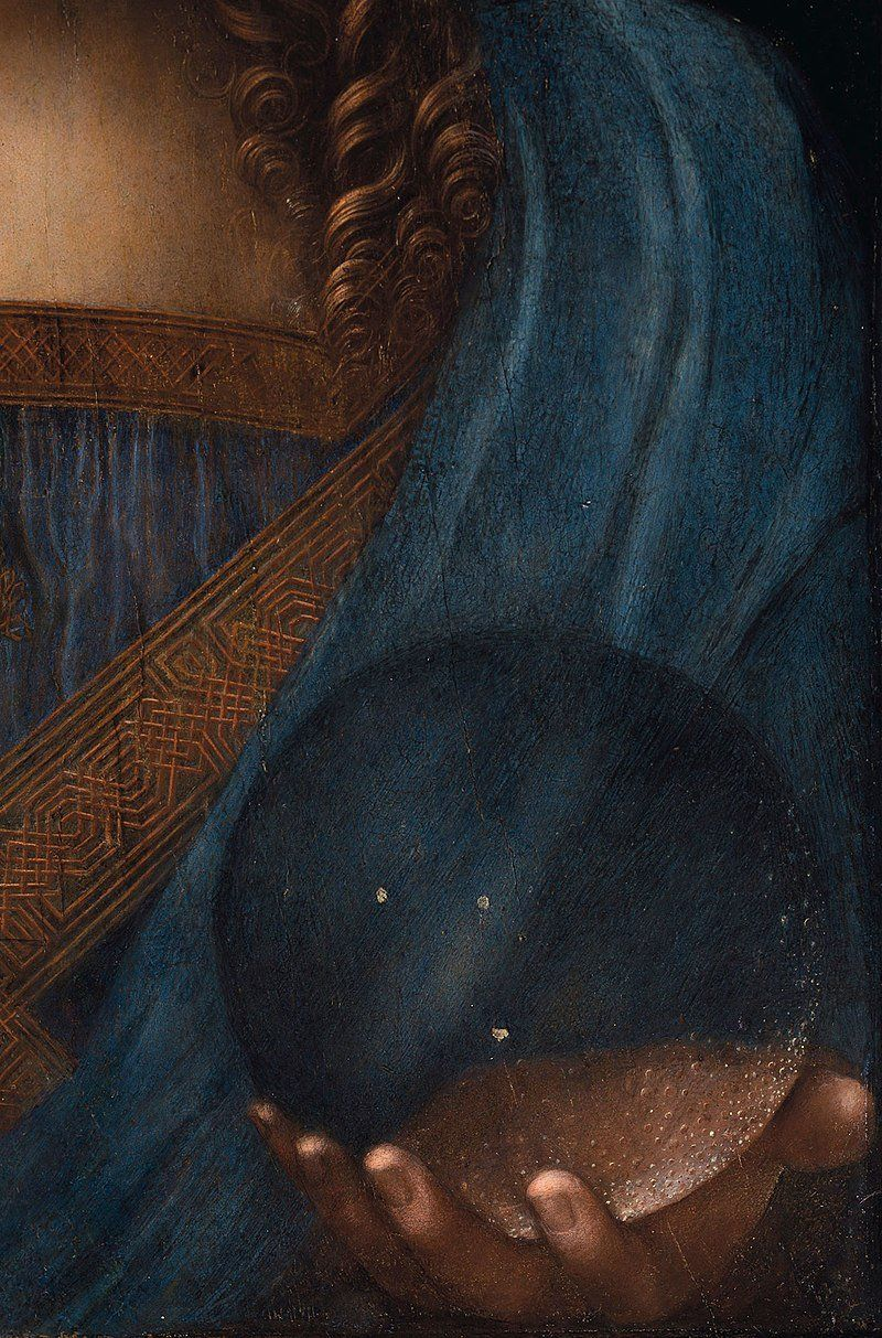 Leonardo da Vinci, Salvator Mundi, c.1500, oil on walnut, 45.4 × 65.6 cm. Detail.