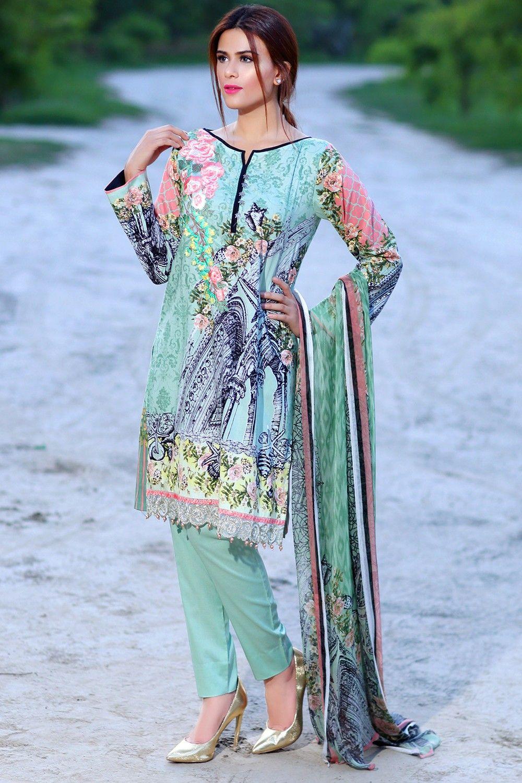 Sea Green Color Sana & Samia Dress