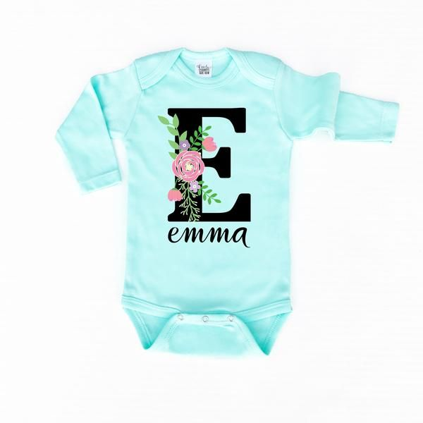 Floral personalized mint bodysuit onesie baby onesie and monograms baby girl clothes personalized onesie custom baby onesie negle