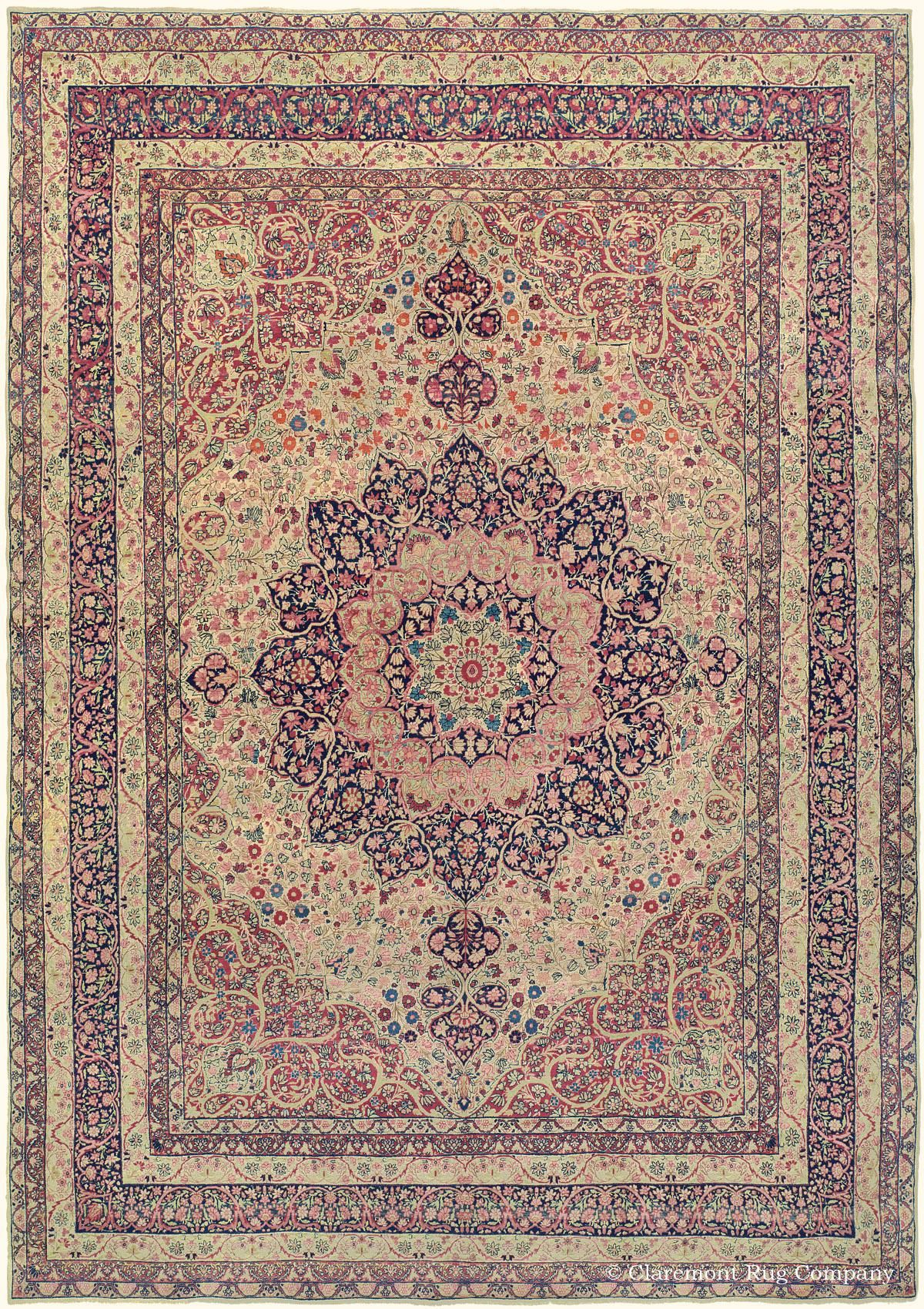 Laver Kirman Southeast Persian 10ft 9in X 15ft 9in Circa 1920 Antique Persian Carpet Claremont Rug Company Flying Carpet