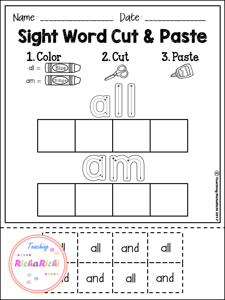 FREE Sight Word Cut and Paste Worksheets (Primer