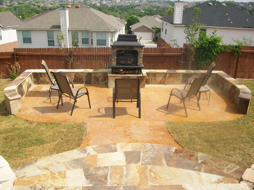 Flagstone patio with stained concrete. | Home decor | Pinterest ...