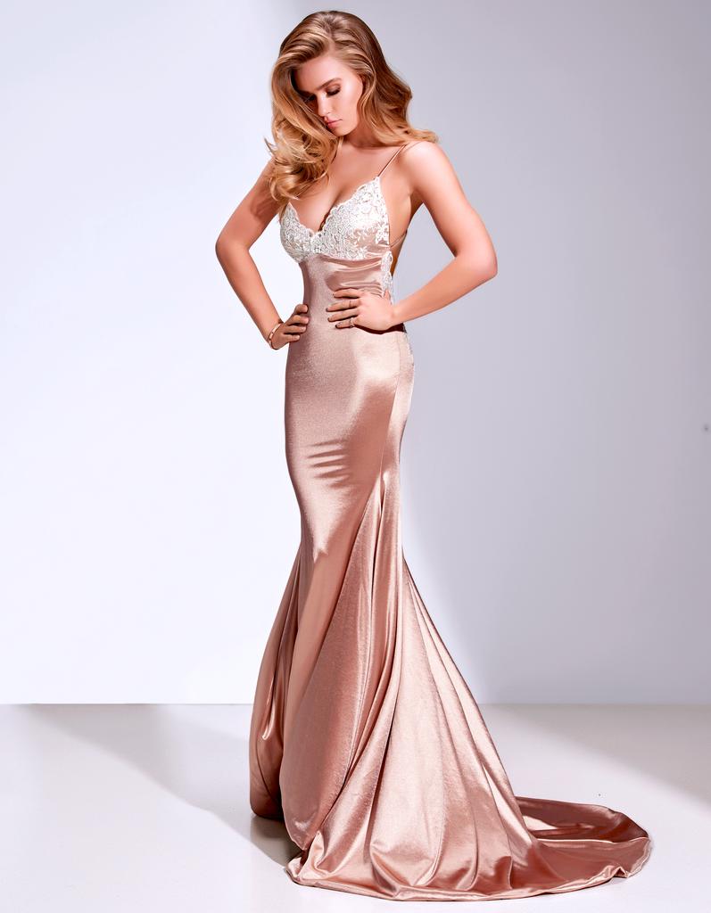 67c1c33b126 Sexy Mermaid Rose Gold Prom Dress