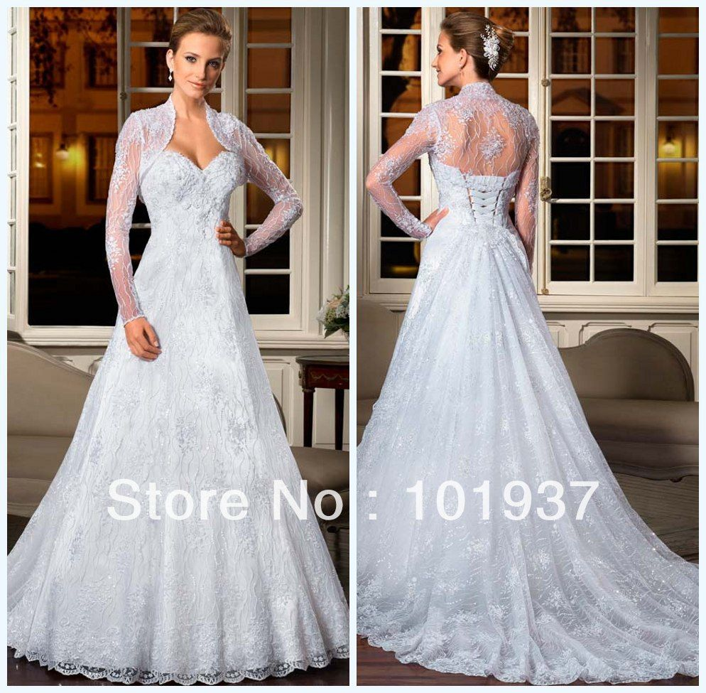 White lace wedding dress with sleeves  New White Lace Up Back Wedding Dresses With Free Jacket Long Train