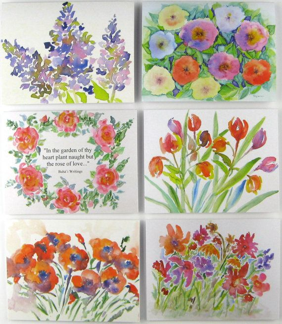 Set Of 6 Love Baha I Greeting Cards Floral Prints Fine Etsy Watercolor Flowers Paintings Flower Painting Fine Art Prints