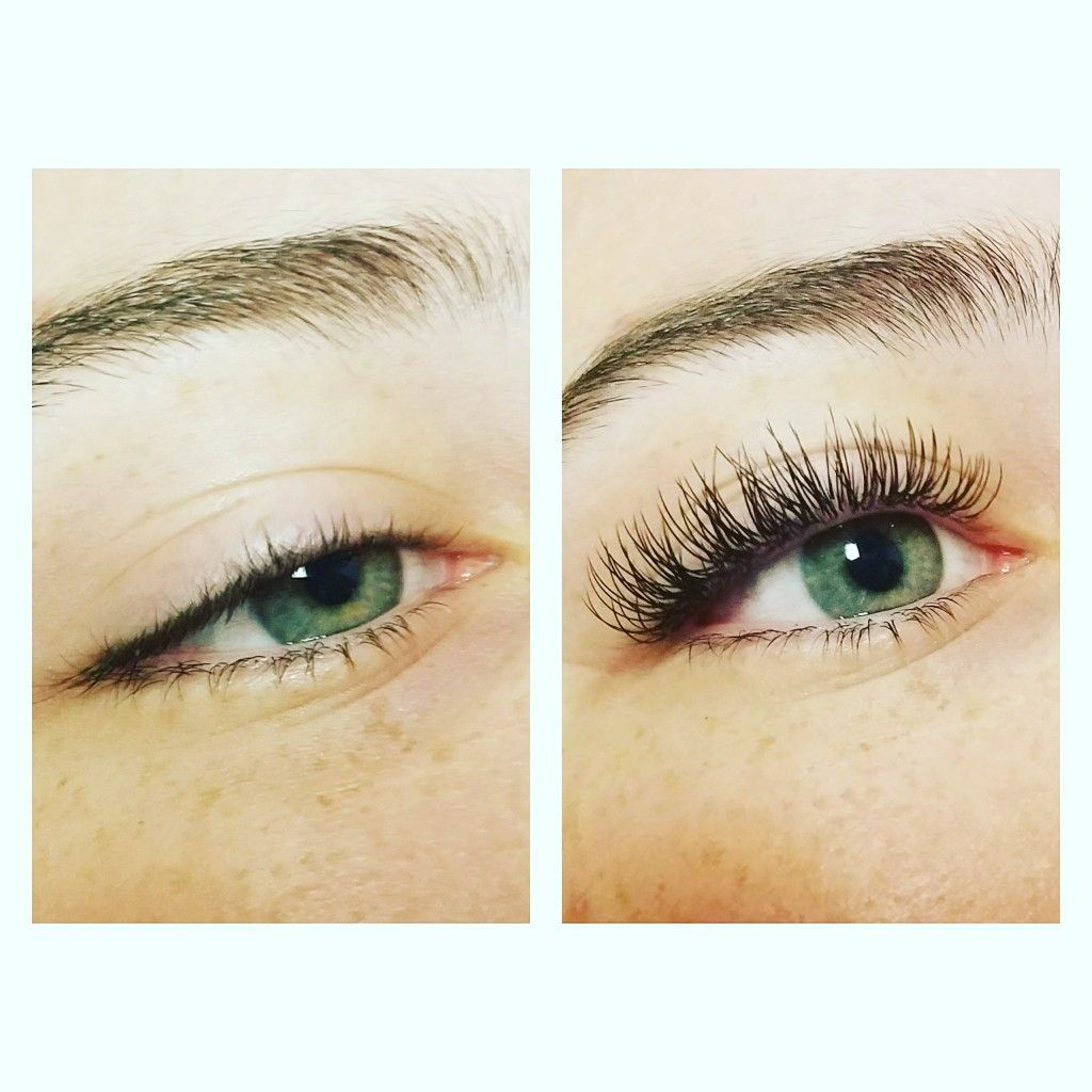 Before and After Classic Eyelash Extensions with flat ...
