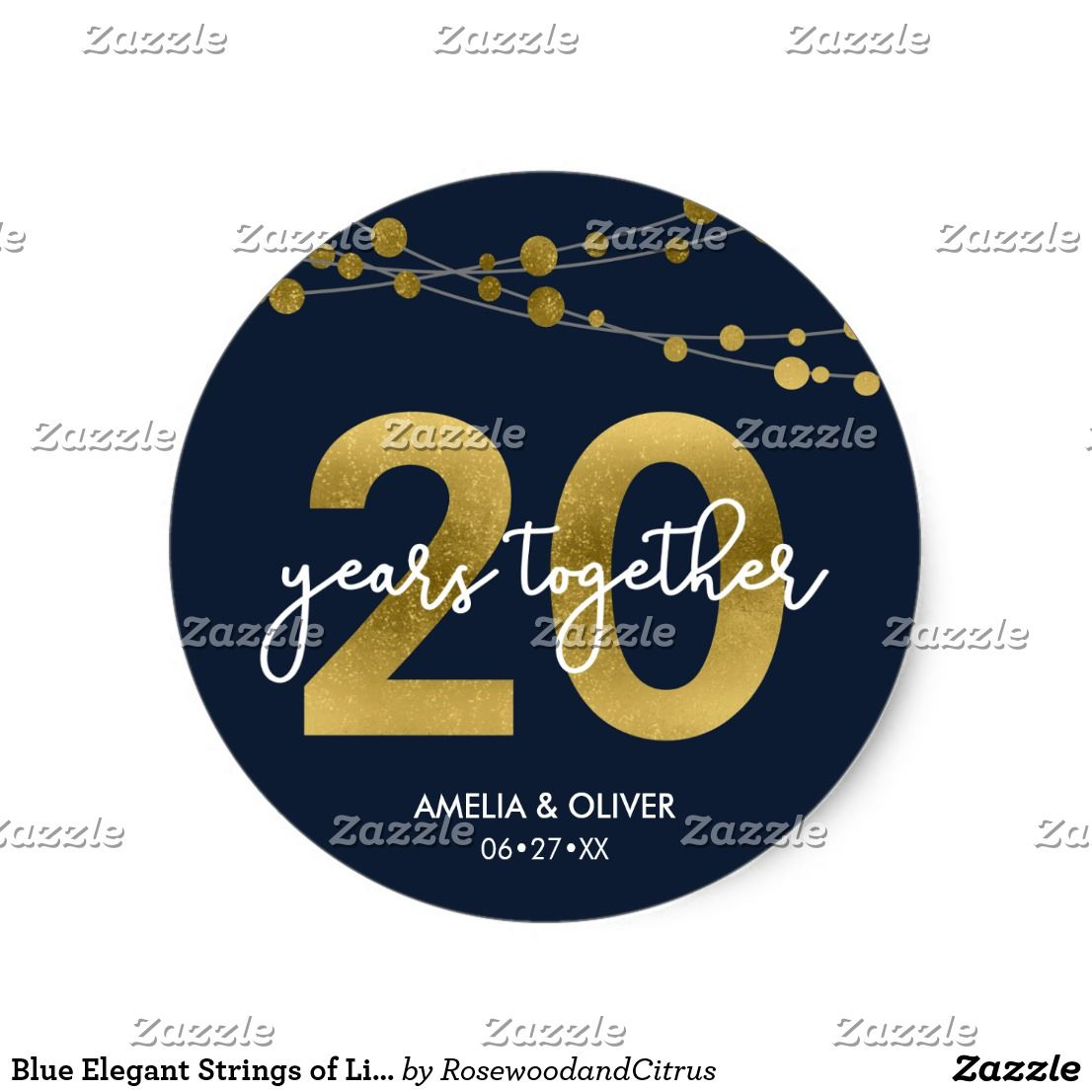 Blue elegant strings of lights 20th anniversary classic round blue elegant strings of lights 20th anniversary classic round sticker this elegant 20th wedding anniversary round sticker features strings of lights and biocorpaavc Choice Image