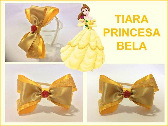 d08221c37f408 Tiara feita com laços em cetim na cor amarelo e dourado. Detalhe com uma  mini