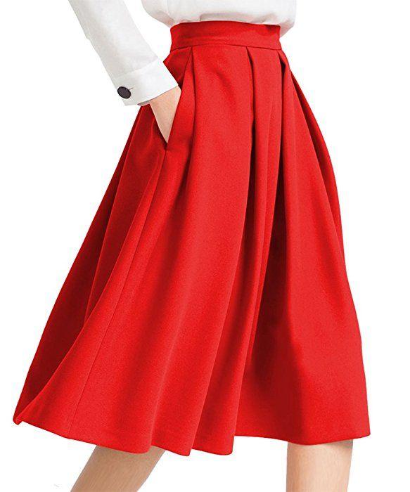 b8d4e373b Yige Women's High Waisted A line Skirt Skater Pleated Full Midi Skirt Red  US16