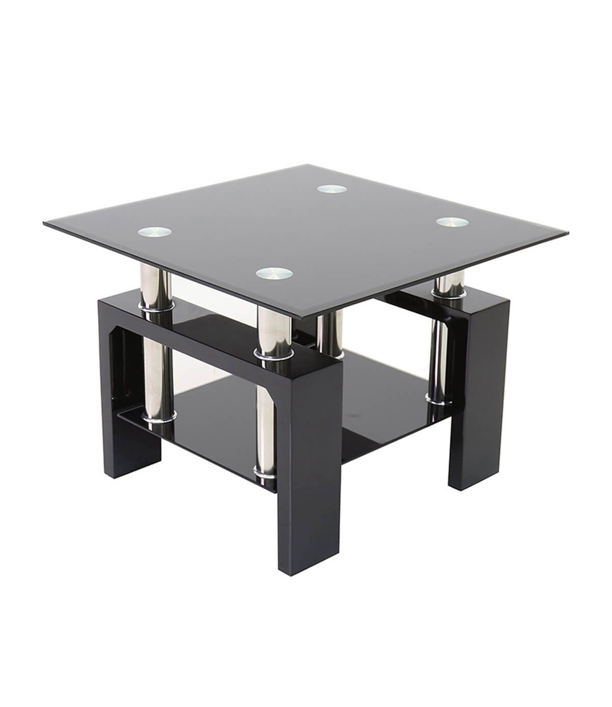 Metro Black Glass Side Table in High