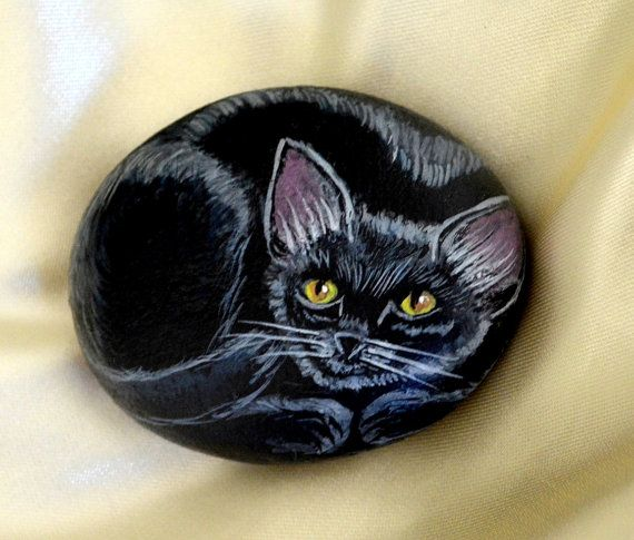 Black Cat Rock Hand Painted Stone Art Cat by JeannesJungle on Etsy