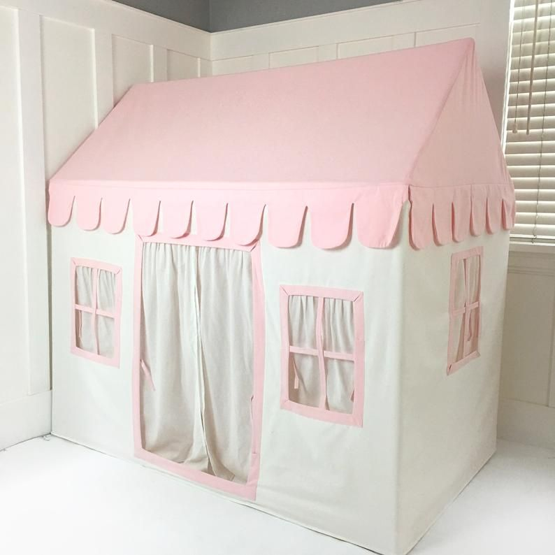 Photo of Kids Playhouse – Cream and Pink Soft Cotton Canvas with Canvas Carry Bag