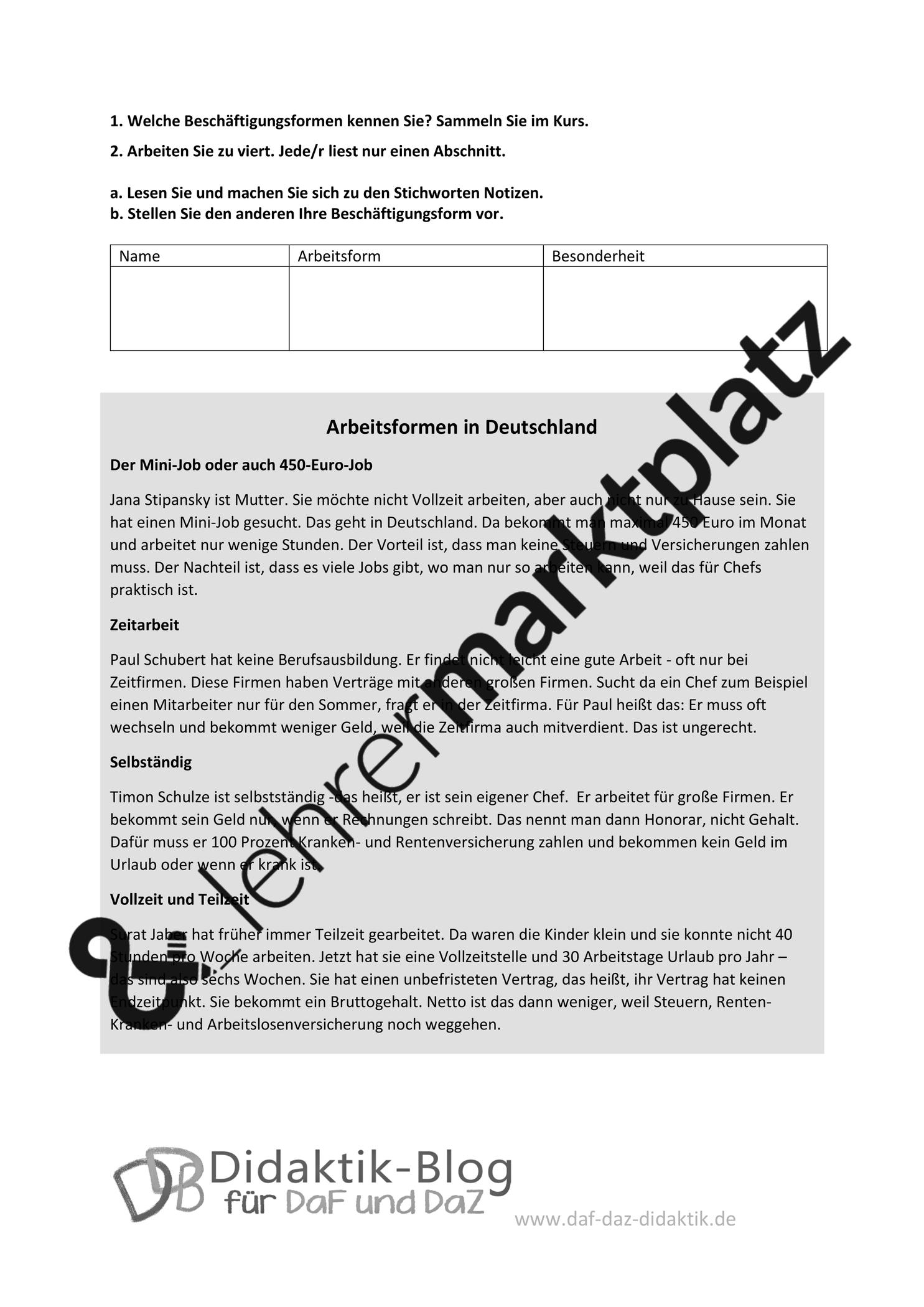 Arbeitsformen in Deutschland – Unterrichtsmaterial im Fach DaZ/DaF ...