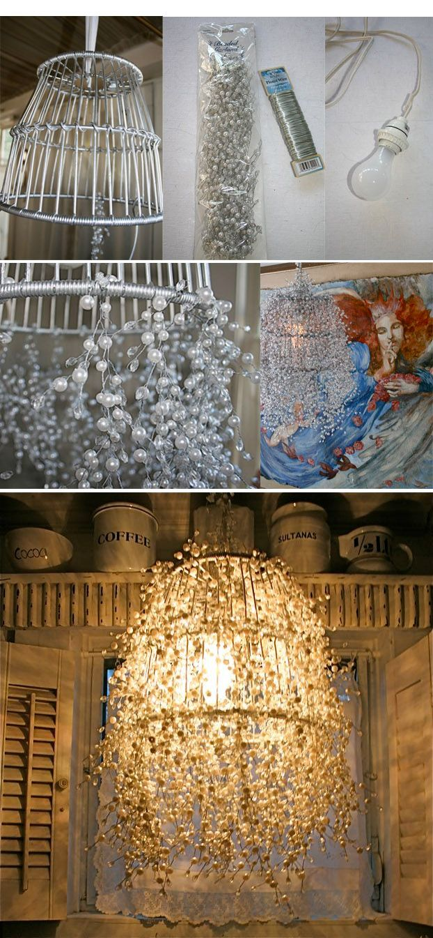 Pin By Pascale Antoun On Interior Design Pinterest Diy Wire Basket Light Fixture Pearl Strands Lamp And