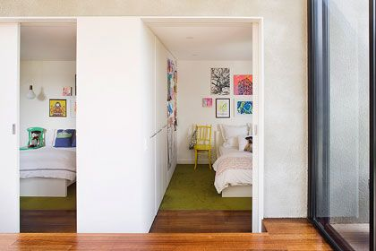 Clare Cousins Architects - Downshire Road Residence - Big sliding doors, like the step down