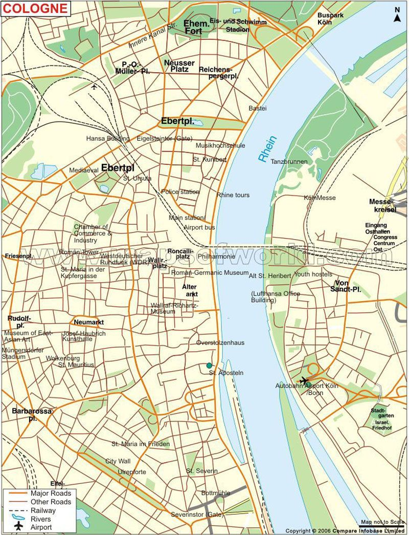 map showing roads railways rivers tourist places of cologne city in germany httpwwwmapsofworldcomgermanycologne city maphtml
