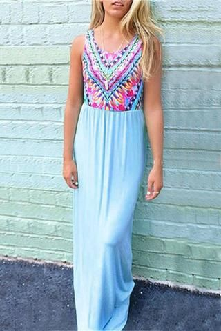#Cupshe Flowy Tribal Print Sleeveless Long Dress - #BackToSchool - #coupons