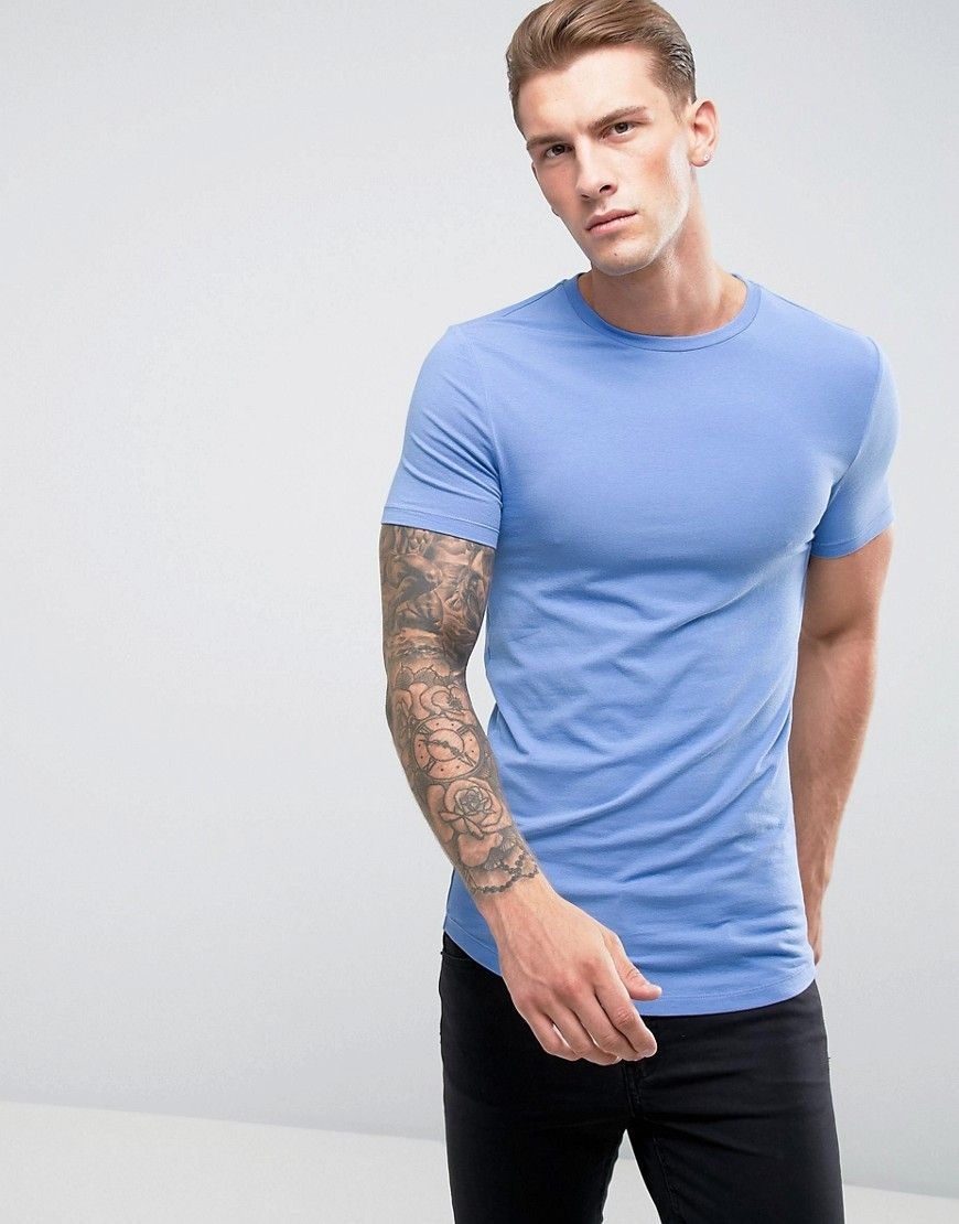 Asos longline muscle fit tshirt with crew neck and curve