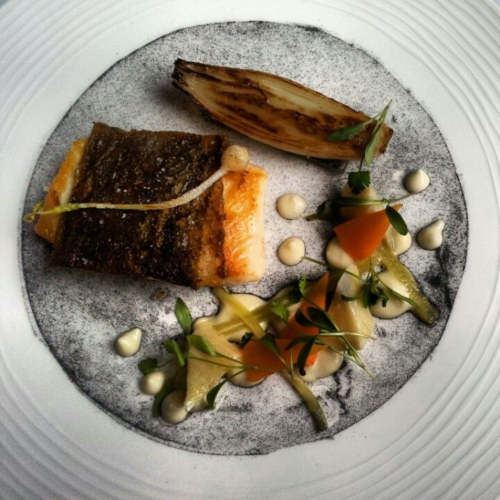 pan fried halibut on a leek ash with artichoke casserolerestaurant mark greenaway edinburgh