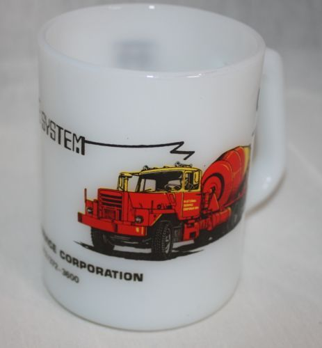 Vintage Federal Milk Glass Advertising Cement Truck Material Service Corp Comput