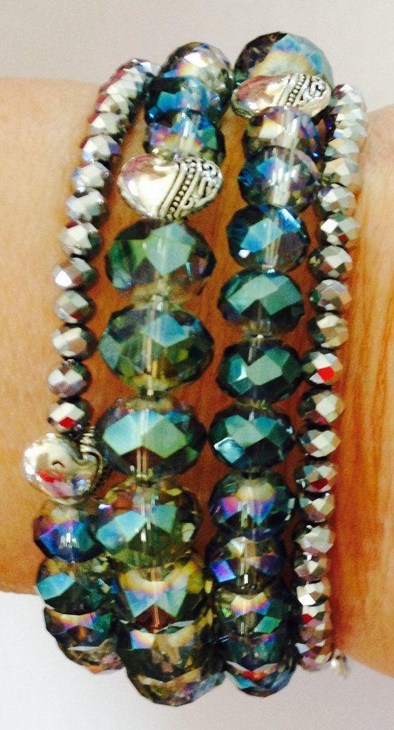 Memory Wire Bracelet with Swarovski Beads  by NataliesCharmsNBeads