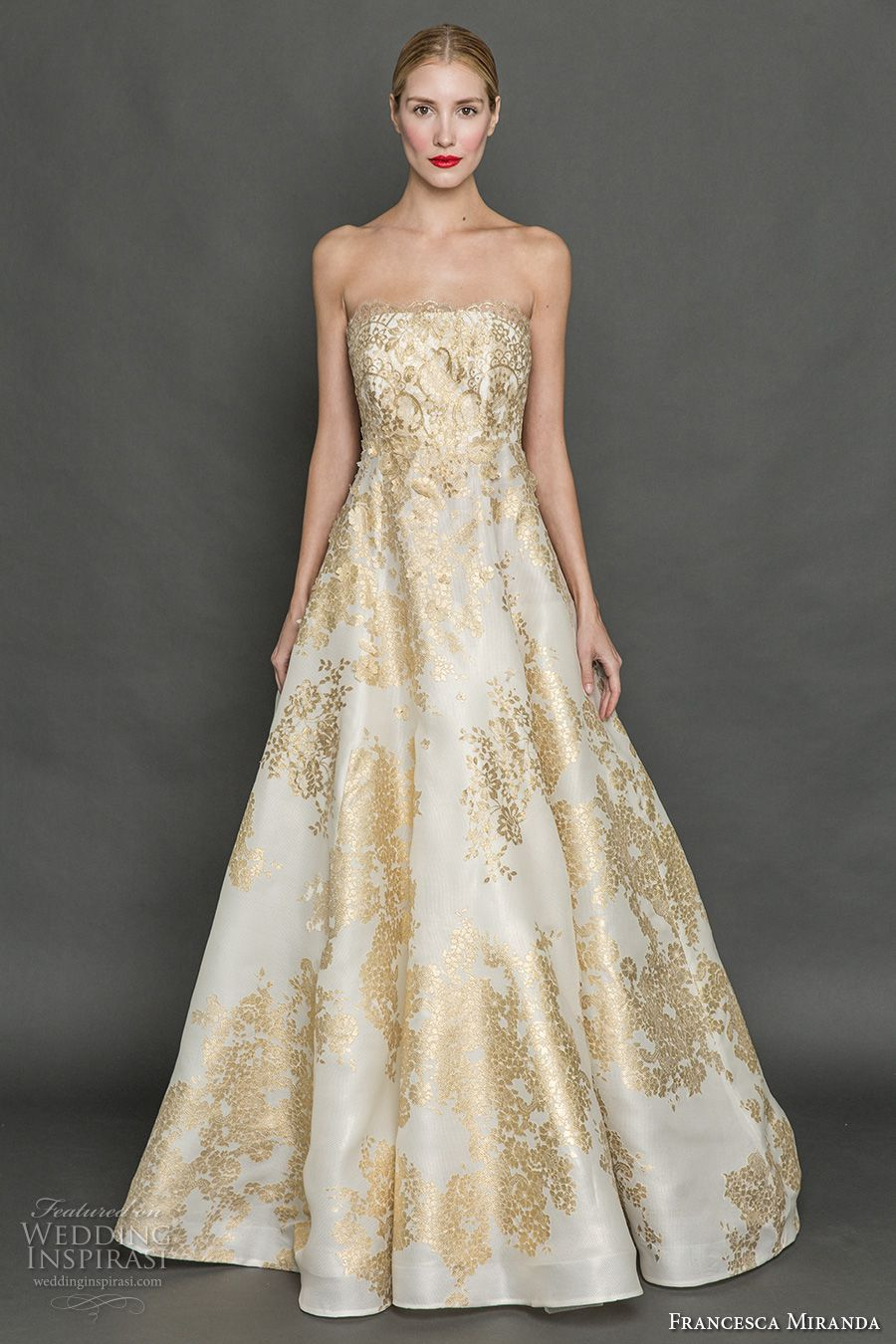 Francesca Miranda Fall 2017 Bridal Strapless Straight Across Neckline Full Embellishment Gold Embroidery Princess Glamorous A