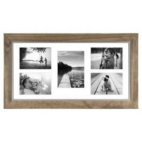 10 X 20 Wood And Metal Edge Multiple Opening Float Frame Brown Threshold Multiple Picture Frame Multi Picture Frames Picture Frames