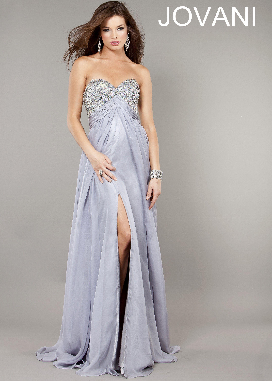 Jovani 6473 - Light Gray Strapless Evening Gown, Prom ...