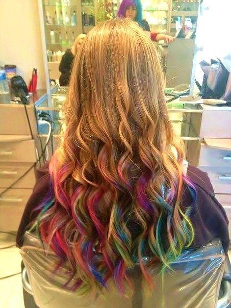 rainbow tips cool hair in 2019