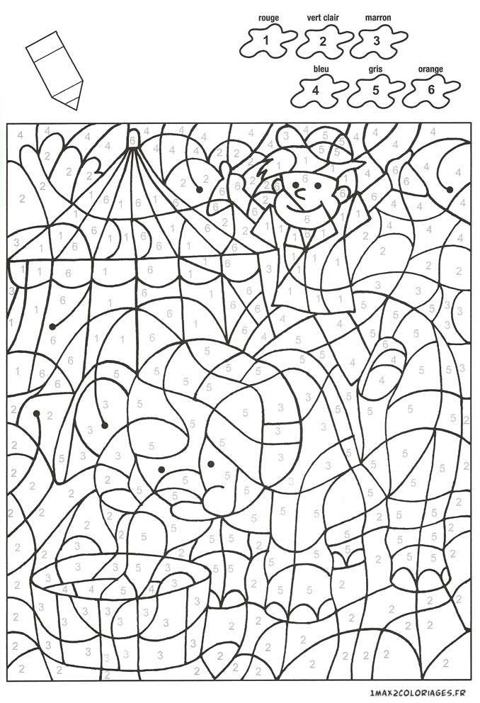 Colorier avec les nombres avec 6 couleurs un enfant sur le dos d 39 un l phant a imprimer color - Dessin d un elephant ...