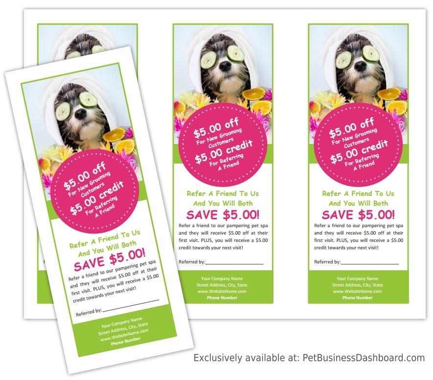 Referral Coupon Template  Pet Business Dashboard  Groomers