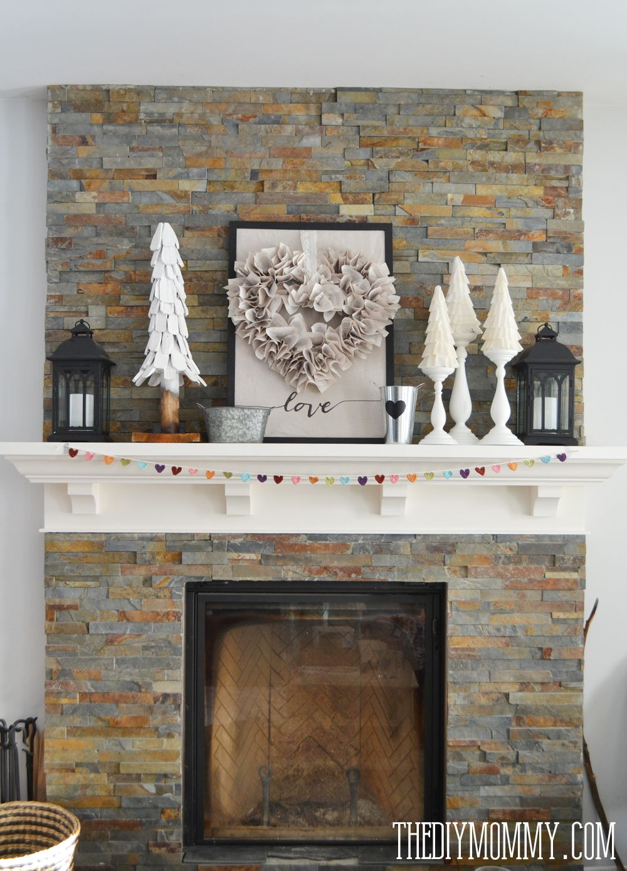 Our Neutral Valentine S Day Mantel Decor Mantel Decorations Decor Neutral Holiday Decor