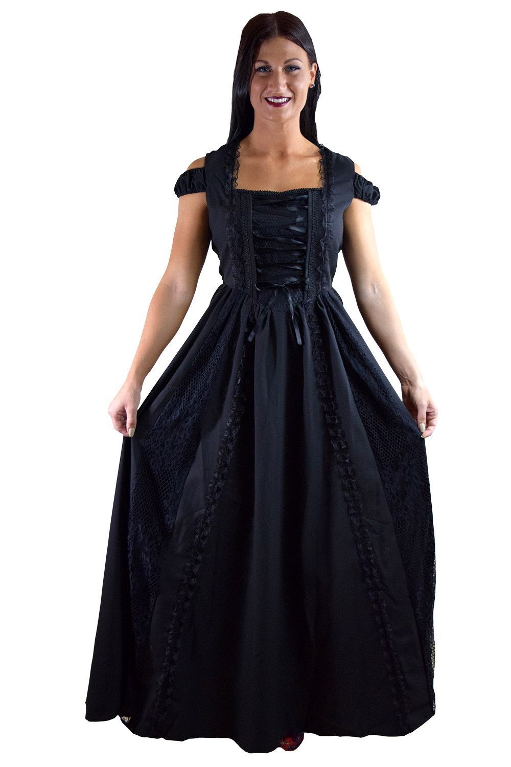 1469685f14cd Gothic Victorian Dark Side Raven Witch Black Long Corset Lace up Party Dress