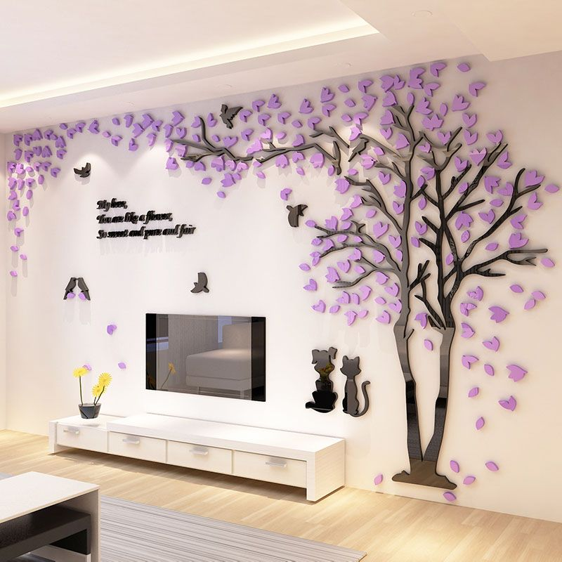 2016 New Tree Design TV Background Wall Decorations Acrylic Wall ...