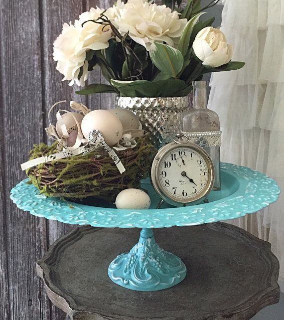 Hey, I found this really awesome Etsy listing at https://www.etsy.com/listing/229176641/turquoise-wedding-cake-stand-serving