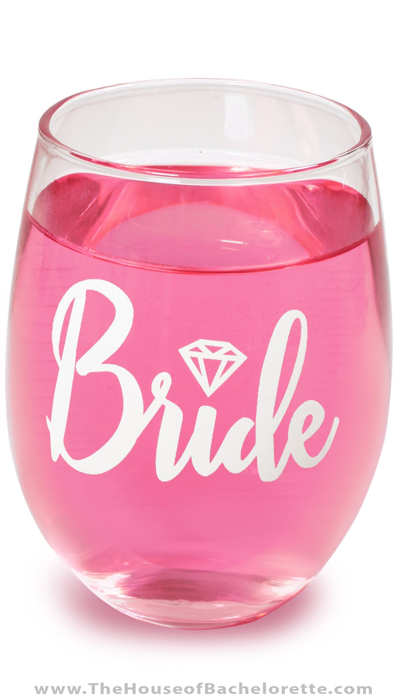Bride w/Diamond Stemless Wine Glass | Bridal Shower | Pinterest ...