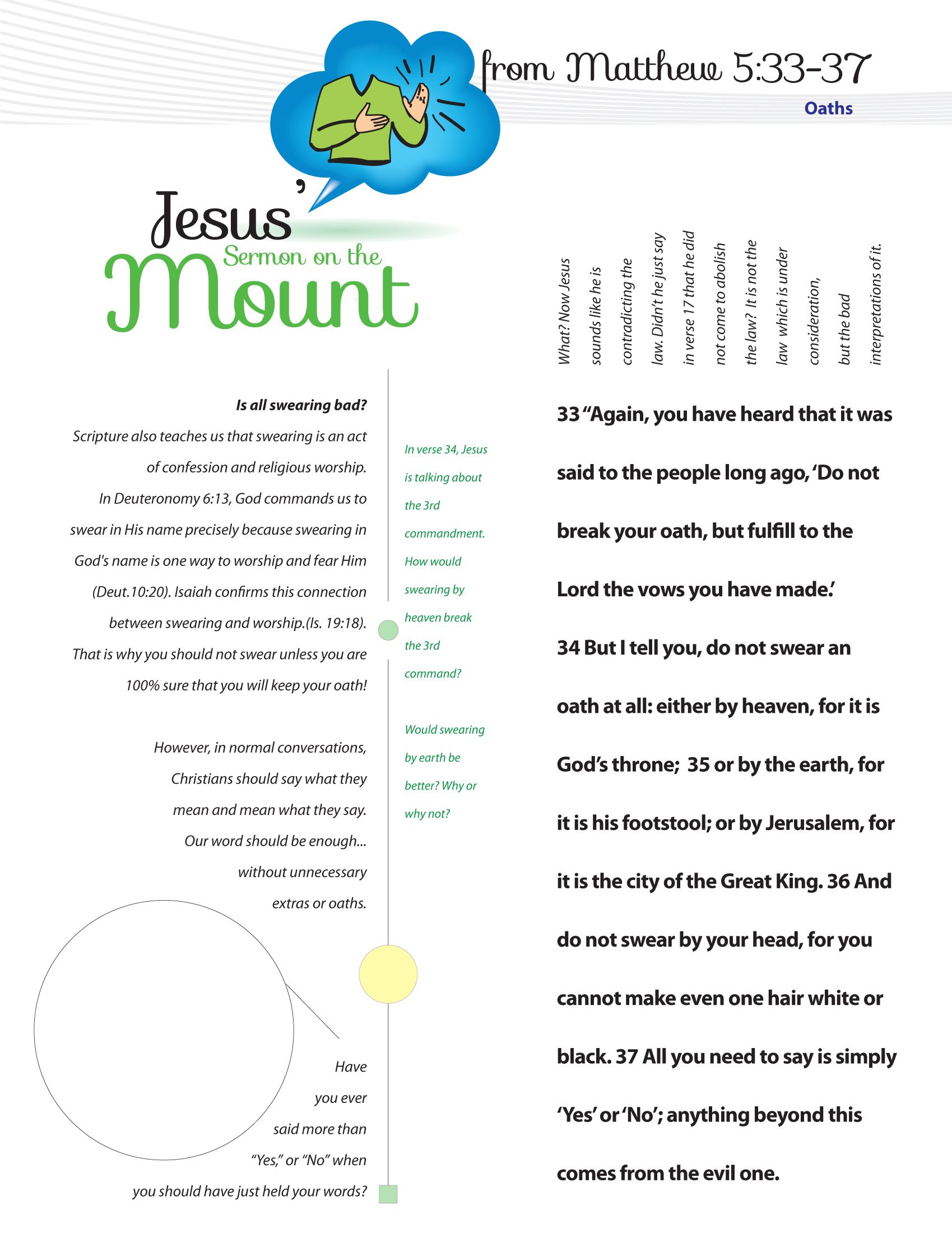 Worksheet To Teach Jesus Sermon On The Mount From Matthew