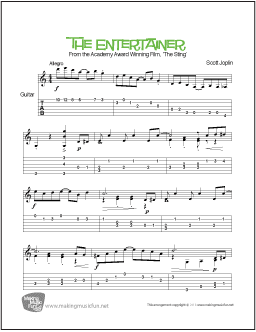 Print and Download Ragtime Favorite 'The Entertainer' from