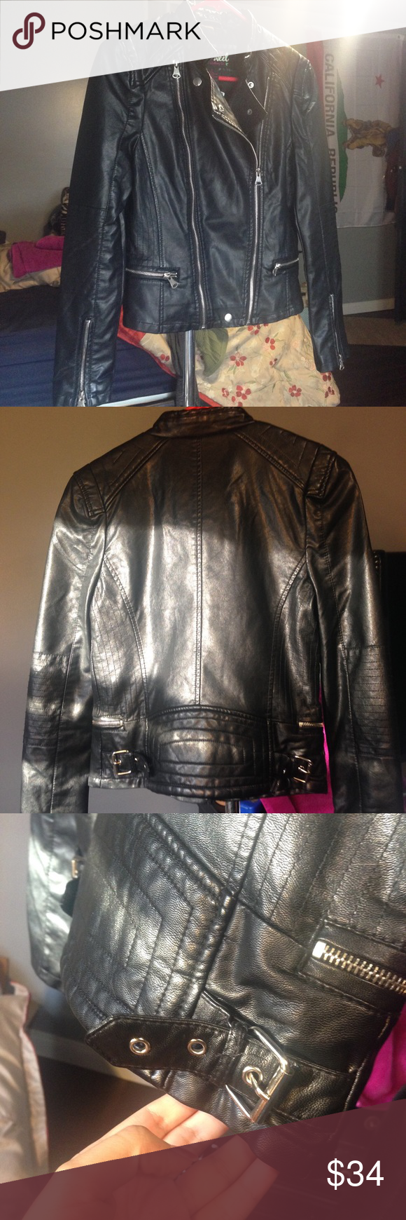 Black faux leather jacket Faux leather. NEW with tags. Size small. Jackets & Coats Utility Jackets